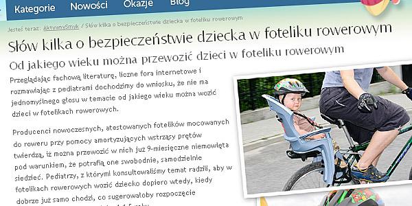 """Nowa strona w sklepie """"Słów kilka o bezpieczeństwie dziecka w foteliku rowerowym"""""""