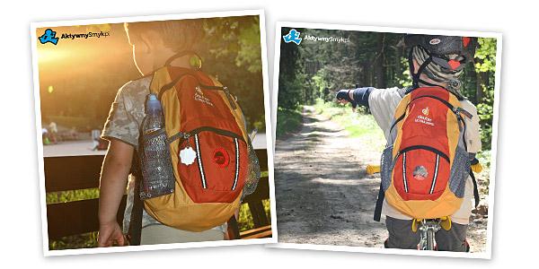 Staś (5 lat, 110cm) i Maciek (3 lata, 100cm) z plecakiem Deuter Ultra Bike