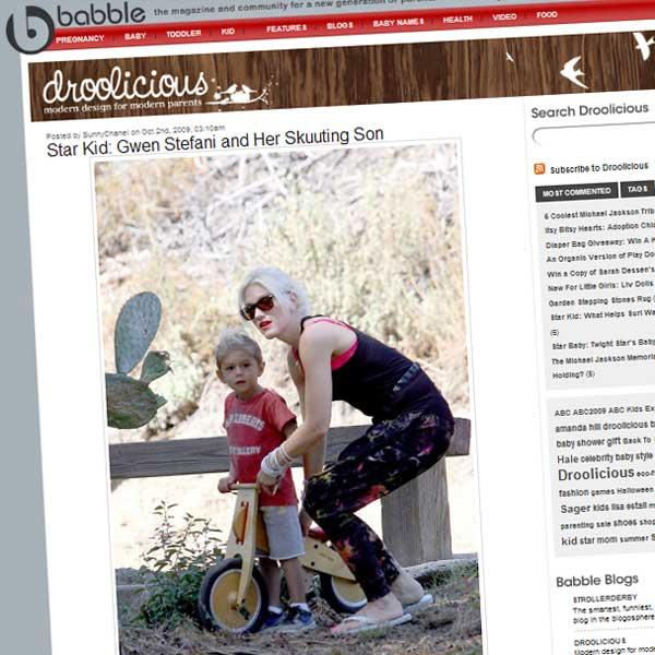 Gwen Stefani i Kingston na rowerku LIKEaBIKE Mountain (zdjęcię pochodzi z bloga Babble)