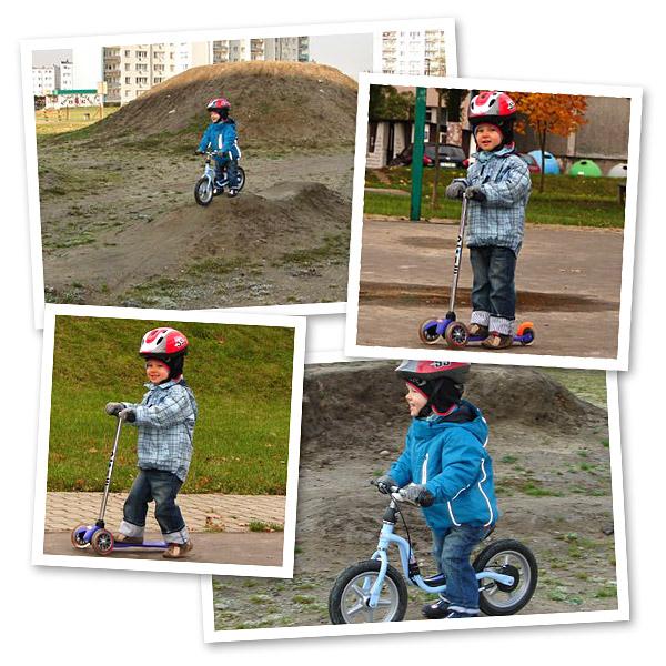 Julek na rowerku biegowym Puky LR 1Br i na hulajnodze Mini Micro