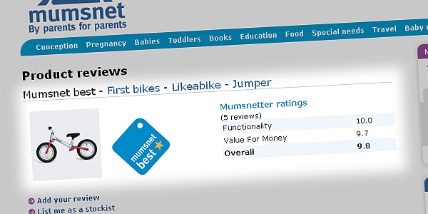 Product reviews > Mumsnet best - First bikes - Likeabike - Jumper
