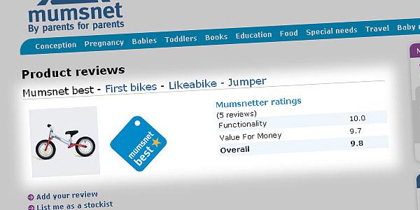 Product reviews > Mumsnet best - First bikes - Likeabike - Jumper