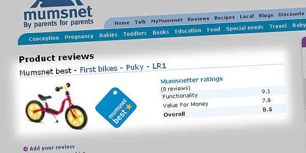 Product reviews > Mumsnet best - First bikes - Puky - LR1