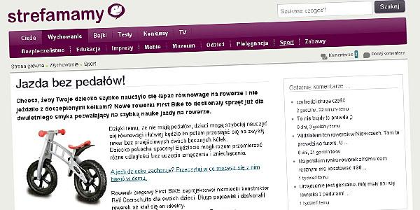 strefamamy.pl pisze o rowerku biegowym FirstBIKE