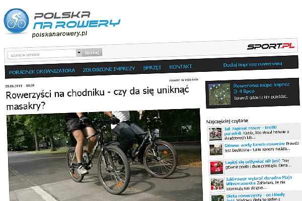 """""""Rowerzyści na chodniku - czy da się uniknąć masakry?"""" - polskanarowery.sport.pl"""