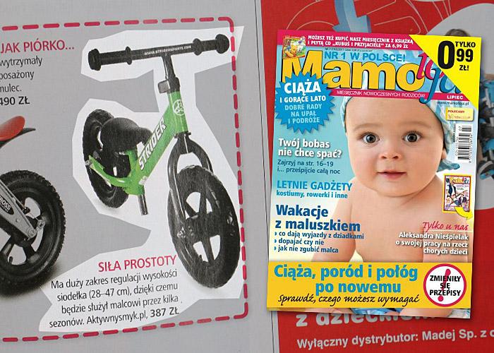 Miesięcznik Mamo to ja nr 7 lipiec 2011 - Przedszkolak na szlaku | Jaki rowerek biegowy wybrać? M.in. rowerek biegowy STRIDER, First BIKE