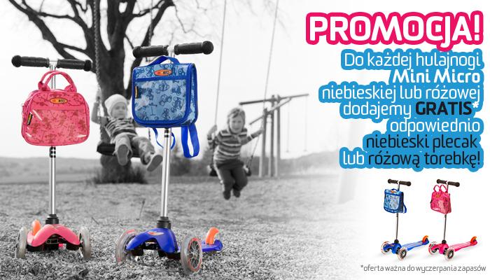 PROMOCJA hulajnoga Mini Micro niebieska lub różowa odpowiednio z niebieskim plecakiem lub różową torebką.
