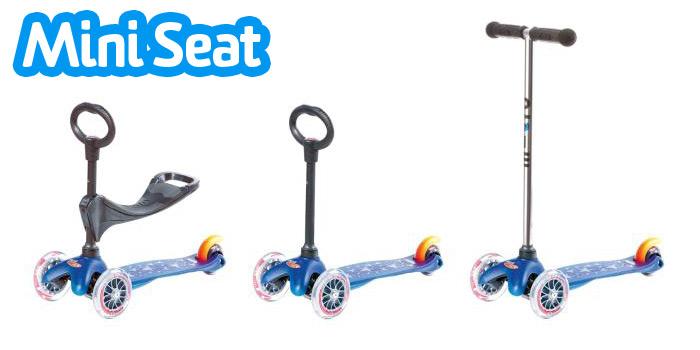 Mini Seat - jeździk (dwie wysokości siedziska), hulajnoga z uchytem jeździka, standardowa hulajnoga Mini Micro