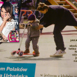 Córka Nataszy Urbańskiej na hulajnodze Mini Micro