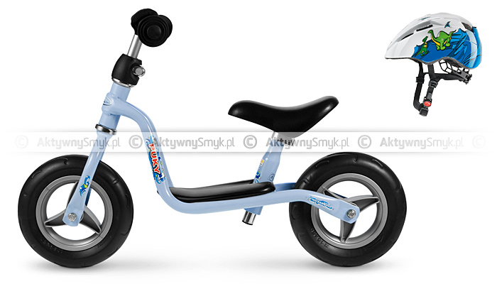 Rowerek biegowy Puky LR M błękitny + kask rowerowy Uvex Kid 2 Dinos