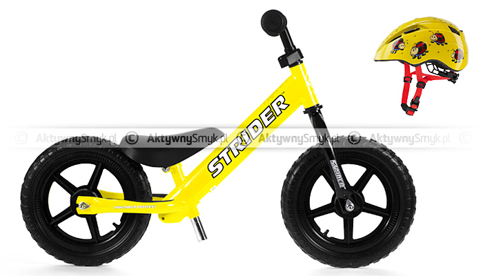 Rowerek biegowy STRIDER żółty + kask rowerowy Uvex Kid II bugs