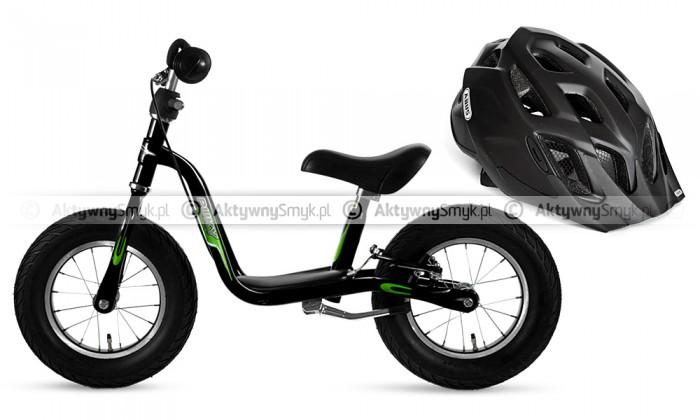 Rowerek biegowy Puky LR XL czarny i kask rowerowy Abus Mount X czarny