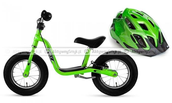 Rowerek biegowy Puky LR XL zielony i kask rowerowy Abus Mount X zielony