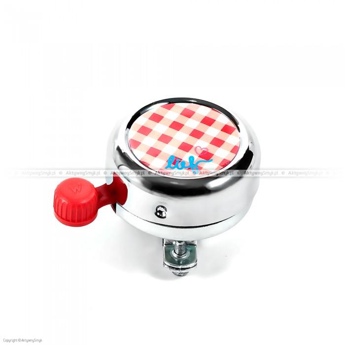 Dzwonek Lief! srebrny z  czerwoną kratką