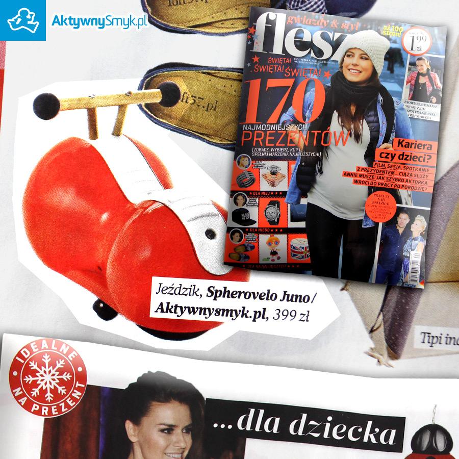 Tygodnik Flesz a w nim propozycje prezentów dla dziecka i jeździk Early Rider Spherovelo Juno ze sklepu AktywnySmyk.pl