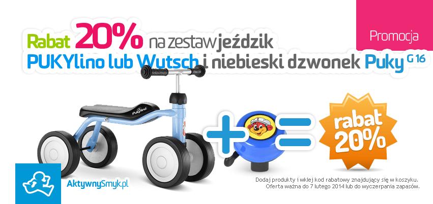 Rabat 20% na zestaw jeździk PUKYlino lub Puky Wutsch i dzwonek Puky niebieski G 16