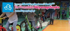 Mikołajki na Sportowo i Wesoło - tor do jazy na rowerku biegowym, hulajnodze