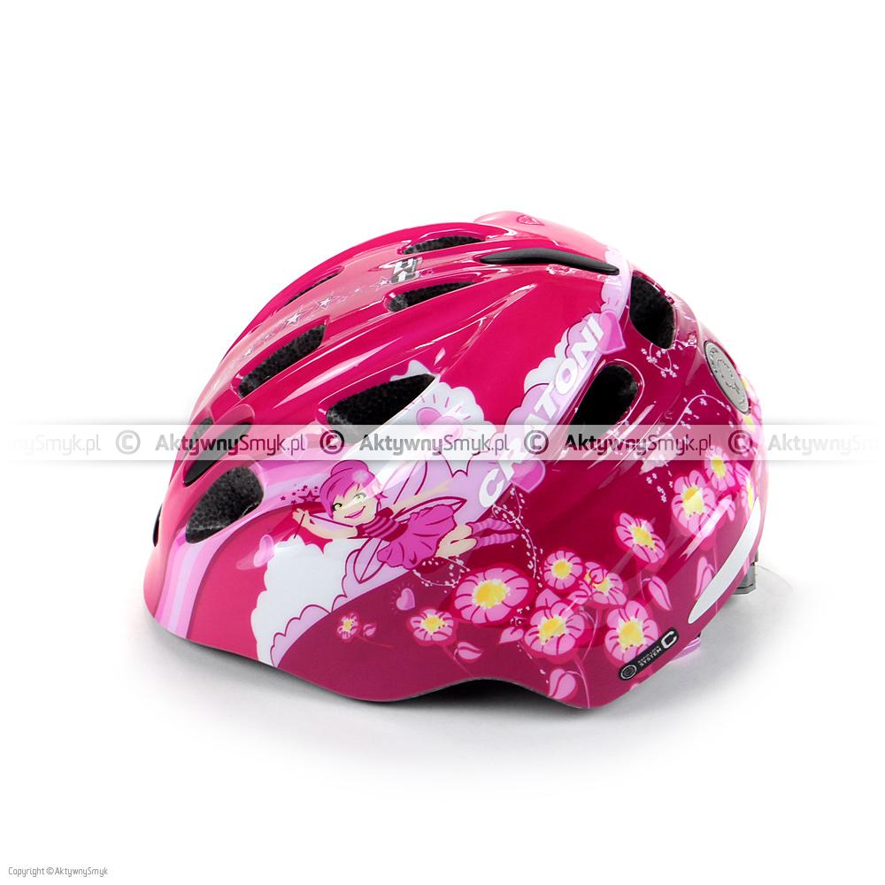 """Różowy kask rowerowy Cratoni Akino """"Fay pink-rose glossy"""" w technologii in-mold produkowany w dwóch zakresach regulacji: 49-53 cm i 53-58 cm posiada 13 otworów wentylacyjnych (w czterech z przodu znajduje się siateczka), gładkie i miękkie paski, zapięcie z regulacją głębokości wpięcia, wagę ok. 220/250 gram oraz lampkę (o 3 trybach świecenia) w pokrętle regulacyjnym."""