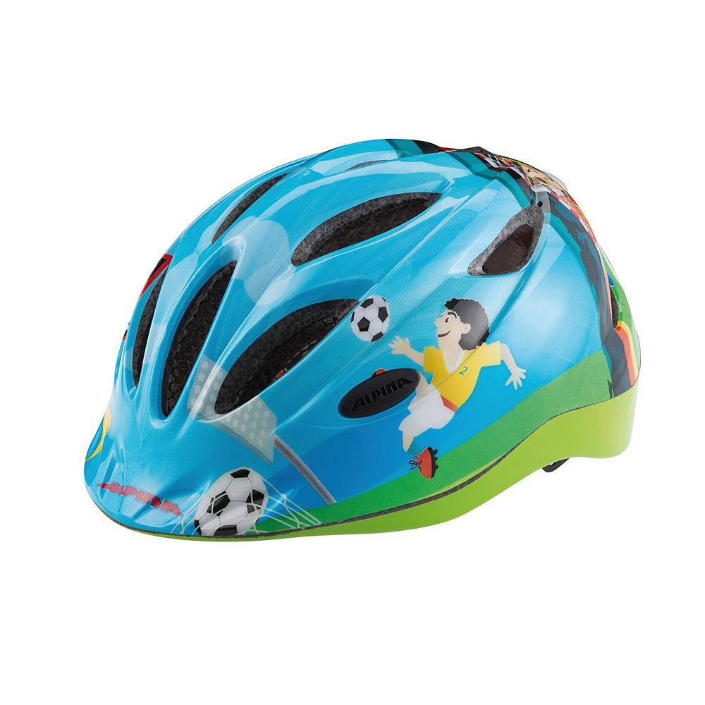 """Niebiesko-zielony kask rowerowy Alpina Gamma Flash """"Soccer"""""""
