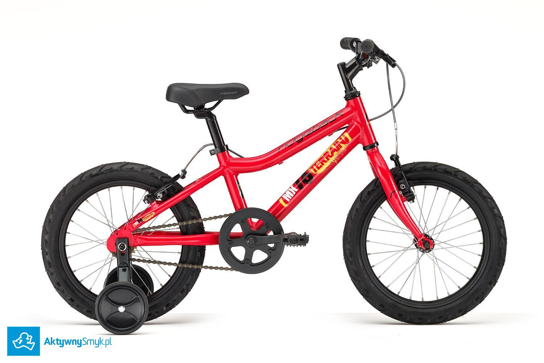 Czerwony rower Ridgeback MX16 może być idealnym następcą średniego rowerka biegowego. Rowerek posiada klasycznie prowadzoną aluminiową ramę, wolnobieg, dwa hamulce typu v-brake, 16 calowe opony typu semislick i dokręcane boczne kółka... coś dla tradycjonalistów :-)