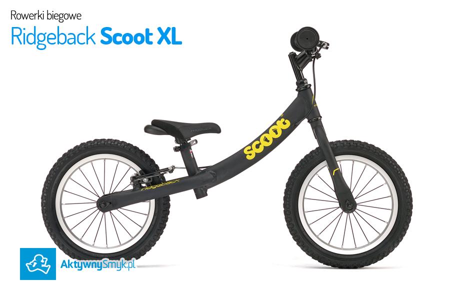Duży czarny rowerek biegowy Ridgeback Scoot XL