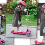 Dwuletnia jubilatka na różowej hulajnodze Mini Micro