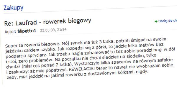 Wypowiedź użytkownika filipetto1 (źródło. forum Gazeta)