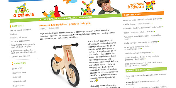 Rowerek bez pedałów i pędząca Gabrysia - Krowi Blog