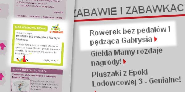 Informacja o wpisie na stronach GieldaMamy.pl oraz MiastoDzieci.pl