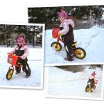 Zima na rowerku biegowym w wykonaniu Zosi