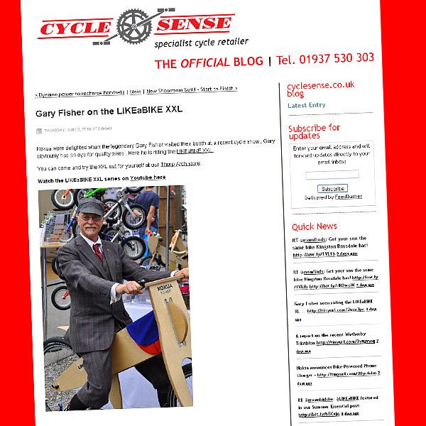 Gary Fisher na rowerze biegowym LIKEaBIKE XXL
