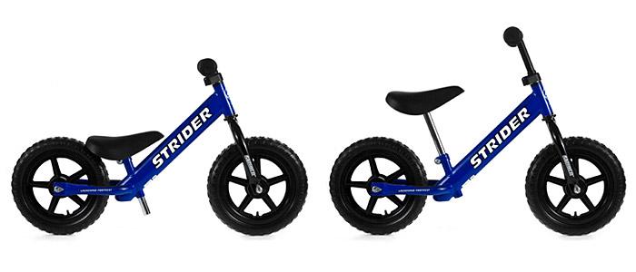 Rowerek biegowy Strider - minimalne i maksymalne położenie siodełka i kierownicy
