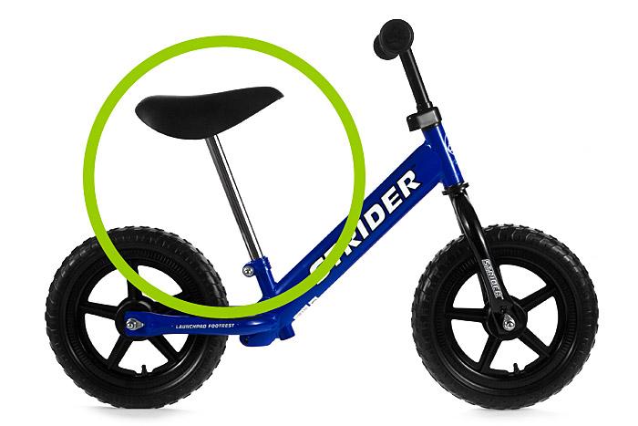 Ekstra długa sztyca i siodełko do rowerka biegowego Strider