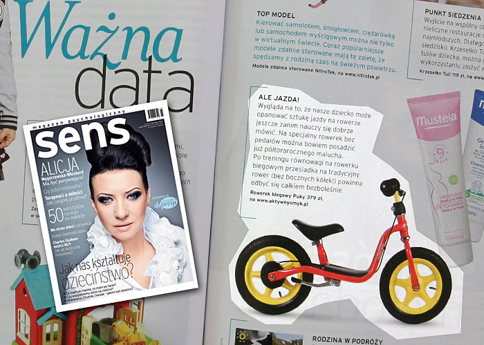Rowerek biegowy - to ma Sens! Ważna data | Miesięcznik SENS 2011.06 (dział: ciało i zmysły inspiracje) | tekst Katarzyna Lewicka-Stachowicz