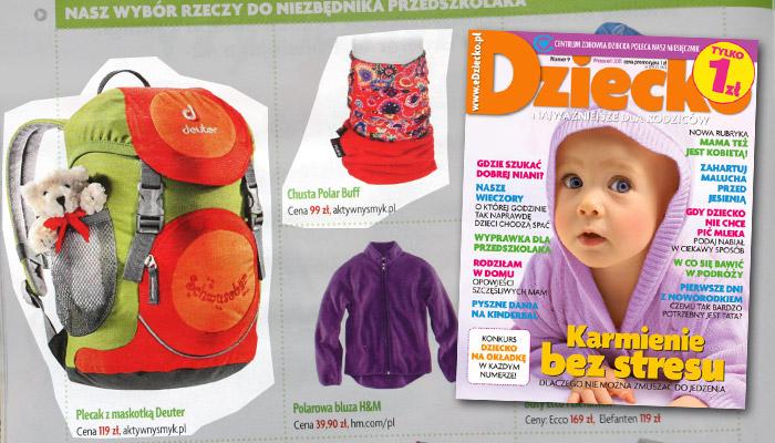 Plecak Deuter oraz chusta BUFF | Wyprawka przedszkolaka - miesięcznik Dziecko nr 9