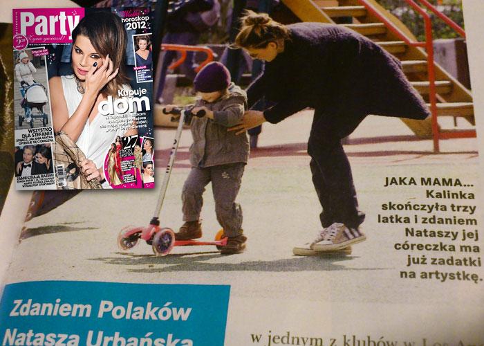 Kalinka, córka Nataszy Urbańskiej na hulajnodze Mini Micro
