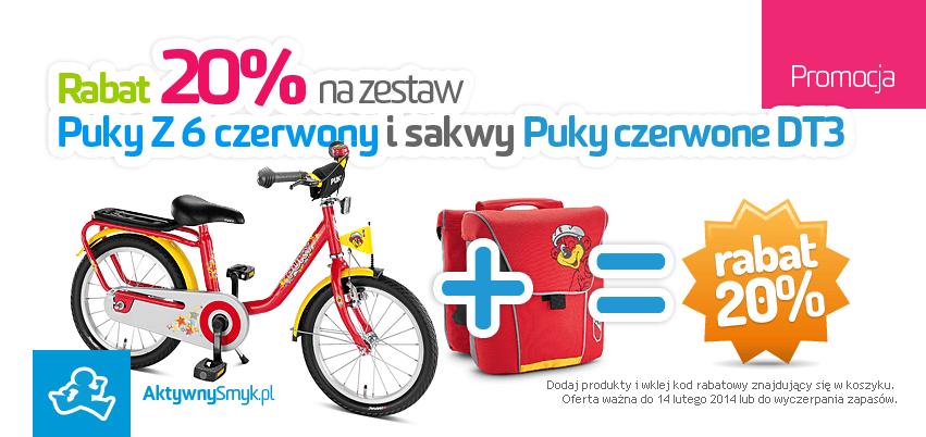 Rabat na zestaw czerwony rower Puky Z6 i czerwone sakwy Puky DT3