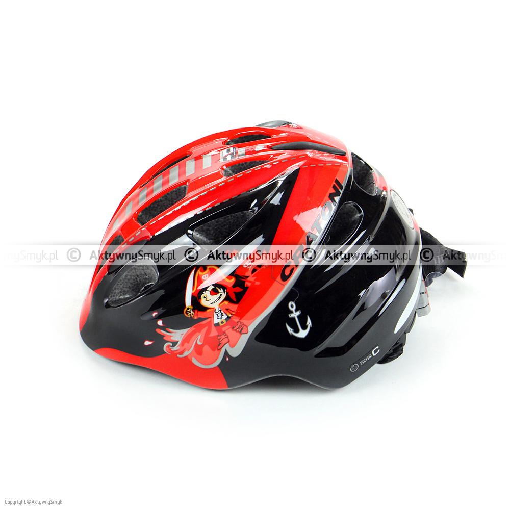 """Czerwono-czarny kask rowerowy Cratoni Akino """"Pirate black-red glossy"""" w technologii in-mold produkowany w dwóch zakresach regulacji: 49-53 cm i 53-58 cm posiada 13 otworów wentylacyjnych (w czterech z przodu znajduje się siateczka), gładkie i miękkie paski, zapięcie z regulacją głębokości wpięcia, wagę ok. 220/250 gram oraz lampkę (o 3 trybach świecenia) w pokrętle regulacyjnym."""