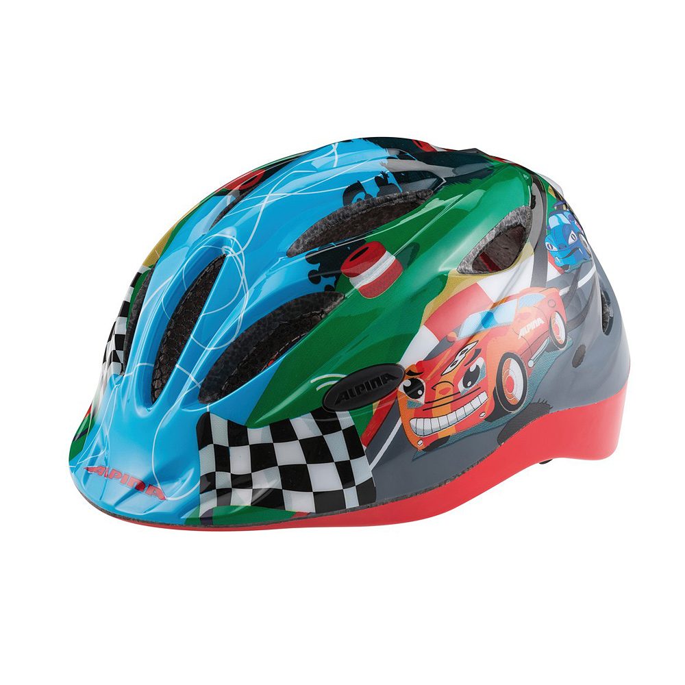 """Niebiesko-czerwono-zielony kask rowerowy Alpina Gamma Flash """"Racing"""""""