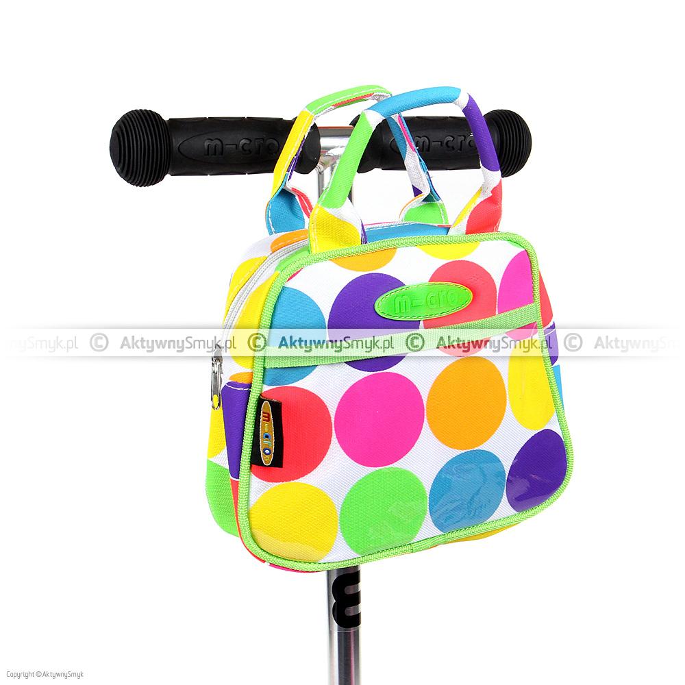 Urocza, w kolorowe kropy zapinana na suwak torebka Micro Dotty