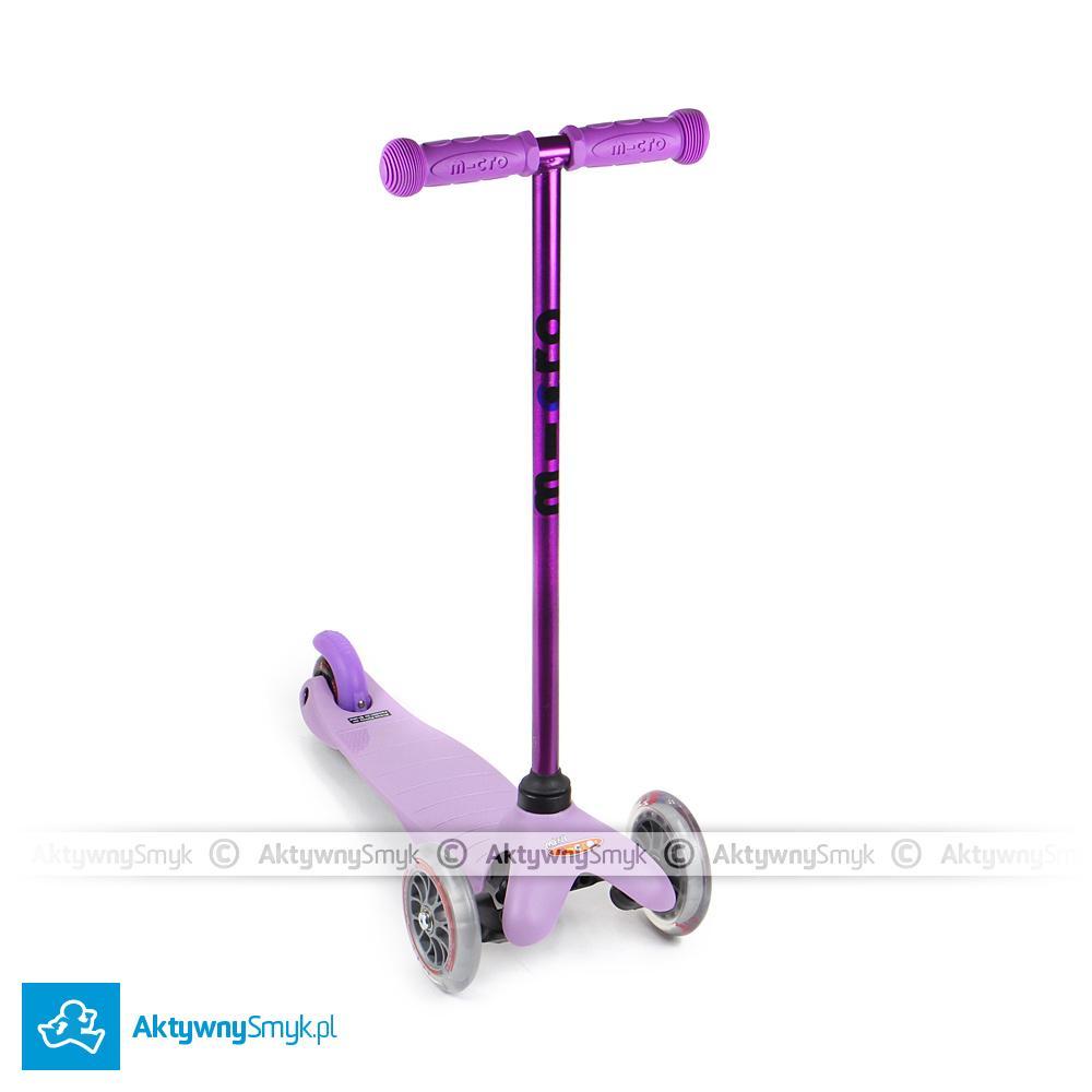 Fioletowa z fioletowym hamulcem, uchwytami i oczywiście fioletowym drążkiem hulajnoga trójkołowa Mini Micro Candy Pink to idealny środek lokomocji dla dwuletniego AktywnegoSmyka :-)