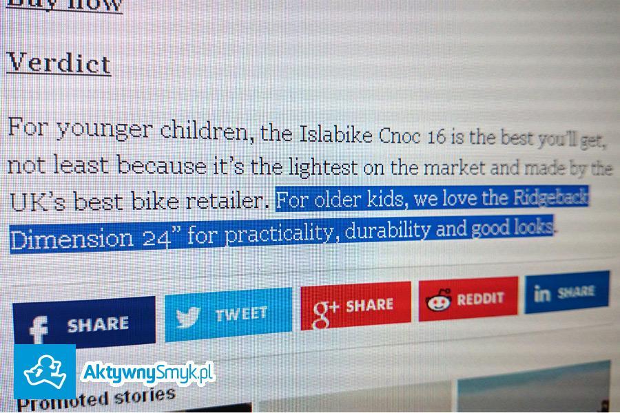 10 best kids' bikes a wśród nich lekki rower Ridgeback Dimension