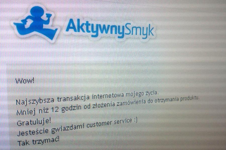 Najszybsza transakcja internetowa mojego życia. Mniej niż 12 godzin od złożenia zamówienia do otrzymania produktu. Gratuluje! Jesteście gwiazdami customer service :) Tak trzymać!