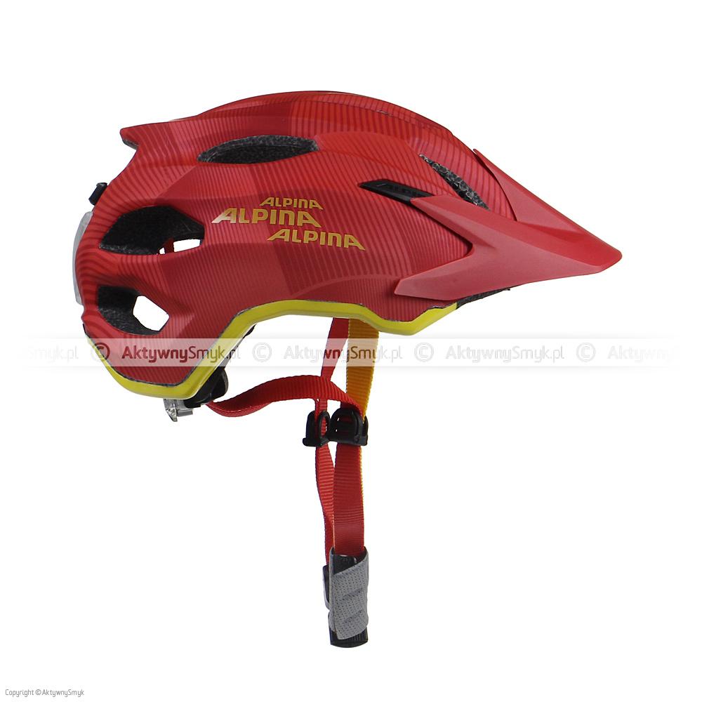 """Czerwono-pomarańczowy kask Alpina Carapax Junior """"Red-Orange"""" wykonany w technologii in-mold, posiada 15 otworów wentylacyjnych (w tym 3 z przodu wyposażone w siateczkę), powiększony tył (kask wzorowany jest na kasku enduro Alpina Carapax), miękkie paski, zapięcie z regulacją głębokości wpięcia, kapitalne boczne klamerki, wagę 240 g oraz porządny daszek."""